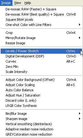 Nebulosity image processing options