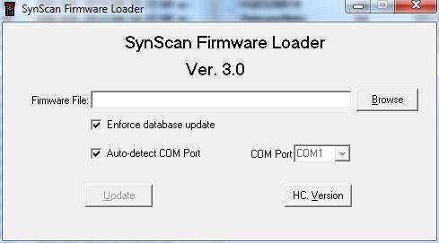 Aplikacja do aktualizacji firmware pilotów SynScan